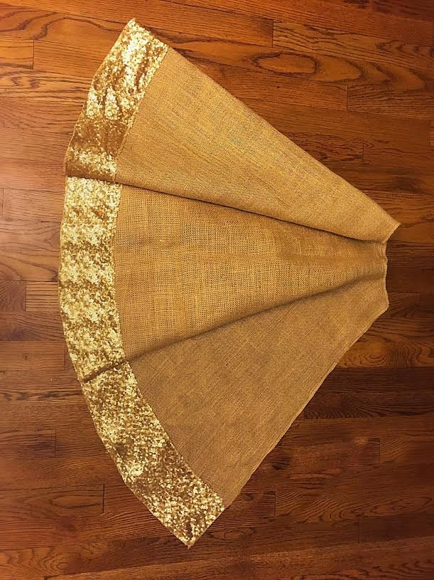 Gold Christmas Tree Skirts Part - 17: Christmas Tree Skirt, Burlap And Gold Or Red Sequence Christmas Tree Skirt, Tree  Skirt, 60 Inches Diam, Christmas Decor, Sequin, Sequence