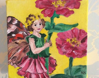 Flower fairy handpainted canvas