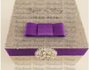 Luxury Linen Top Ring Box with Dior Bow & Embellishment for Weddings/Occasions