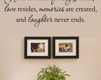 Home Is Where Family Gathers...Wall Quotes, Inspirational Quote, Family, Love, Sayings, Phrases, Decals