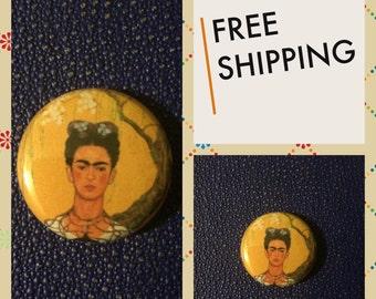 Frida Kahlo de Rivera Self-Portrait, Mexican Art Button Pin FREE SHIPPING & Coupon Codes