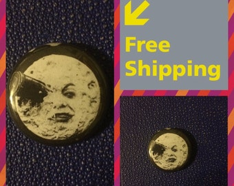 A Trip To The Moon, Silent Film by Georges Méliès Button Pin FREE SHIPPING