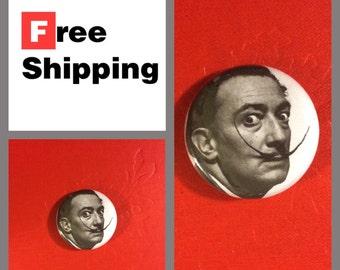 Salvador Dali Mustache Photo Button Pin: FREE SHIPPING