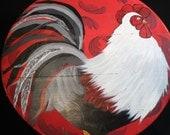 Rooster Hand Painted Re Purposed Wood Cheese Box. Uses: Gift Box, Storage, Organization, Decor, and focal point of a vignette.