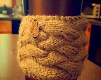 Knit travel mug cozy
