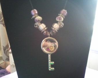 Key Locket, Glass beaded Necklace Handmade