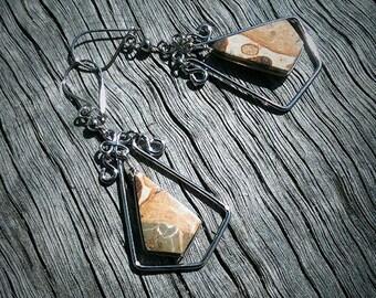 Hippie, Boho Leopardine stone Earrings...