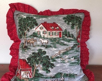 Quilted farm scene throw pillow made from vintage fabric