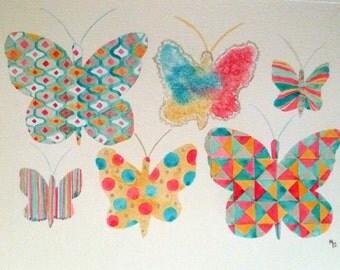 Original Watercolour pink and blue butterflies