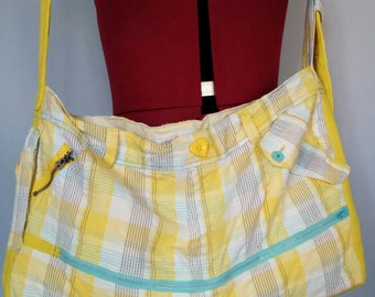 Yellow plaid shoulder bag