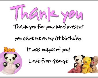Sooty Birthday Party Thank You Cards Sweep Soo Sooty Show Personalised