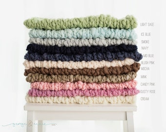 Merino Wool Mini Blanket - Basket Stuffer - Photography Prop