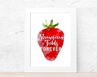 Strawberry wall art, Fruit print, Strawberry Fields forever, Geometric print, Kitchen poster, Printable Wall Art, Dining room art