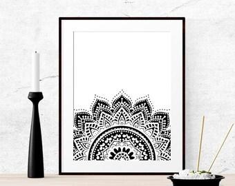 Boho printable, Mandala art, Boho wall art, Boho prints, Bohemian home decor, Boho decor dorm Boho party decor Tribal wall art