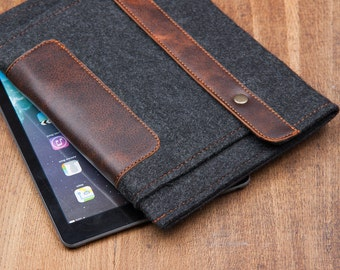 Dark Felt iPad mini 4 case with leather Pocket and button closure. Leather Cover for iPad Mini 1 2 3 4. iPad Mini Sleeve with leather