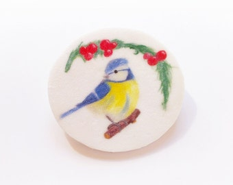 Brooch blue tit and branch