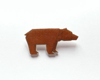 Brooch origami bear