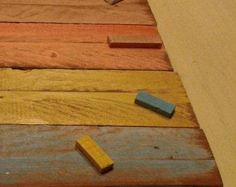 clock colored square wood