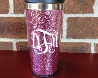 Pink Glitter 16oz Travel Coffee Mug - Personalized Monogram Stainless Steel
