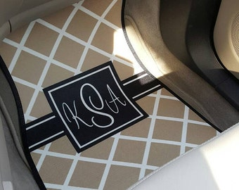 Personalized Custom Design Monogram CAR MATS for Front (Set of 2) - Personalized with Pattern, Color and Frame