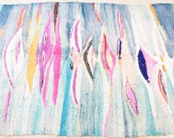 RARE BOUCHEROUITE FLATWEAVE - Colorful Moroccan Rag Rug Hanbal Colorful Blue and Purple Pattern - Azilal Tribal Carpet