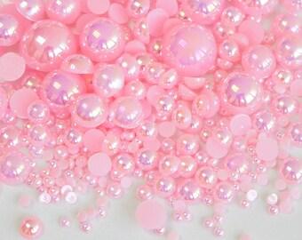 610pcs Mixed 2-10mm Size Half Round Pearl Flatback Resin Cabochons Scrapbooking Nail Craft - Fantasy Pink AB