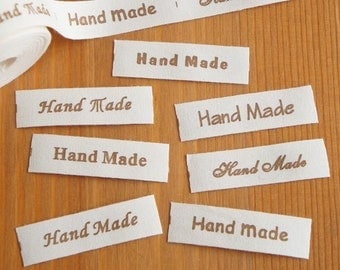 2 metres/ 10 metres: Cotton Fabric Label Hand Made 7 Font Styles Brown 15mm Cut & Sew Scrapbooking Craft DIY