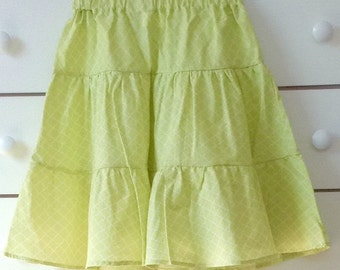 Misses green A-line skirt, green a-line skirt, green ruffled skirt, green tiered skirt, girl's green skirt