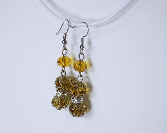 Earrings with yellow glass beads and Silver earrings yellow beaded jewelry hanging earrings, dark yellow