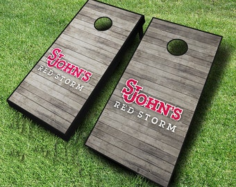Officially Licensed St Johns Red Storm Distressed Cornhole Set with Bags - Bean Bag Toss - St Johns Cornhole - Corn Toss - Corn hole