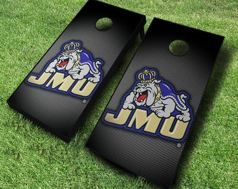 Officially Licensed James Madison Dukes Slanted Cornhole Set with Bags - Bean Bag Toss - James Madison Cornhole - Corn Toss - Corn hole