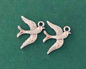 Swallow Bird Charm -12pcs Antique Silver Sparrow Charm Pendants 16x20mm WA104-3