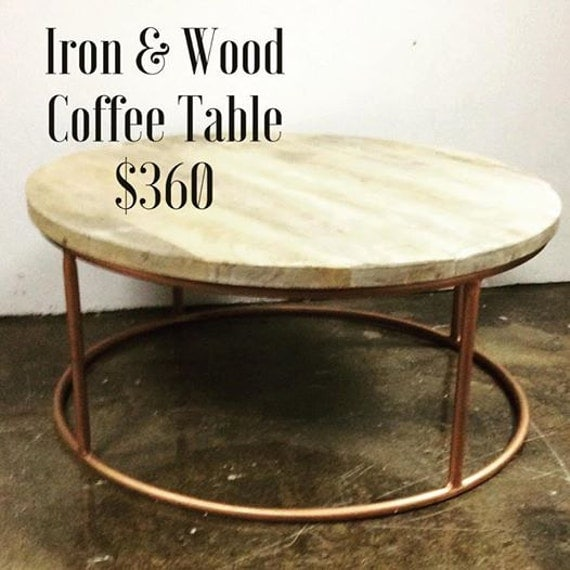 Etsy Round Coffee Tables: Items Similar To Round Copper Iron & Wood Coffee Table On Etsy