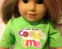 """Girl scout doll outfit, Cookie time, Brownie, Daisy, Jr. Girlscout, Girls Rock iron on, Handmade, doll clothes for 18"""" dolls or AG, denim"""