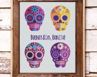 Cross Stitch Pattern Mexican Halloween Sugar Skulls // Instant PDF Download
