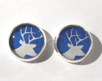 Deer earrings , blue, white deer, deer jewelry, deer stud earrings, deer jewellery, animal earrings