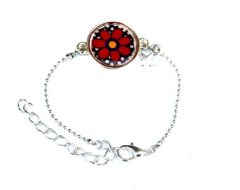 Girls Bracelet, red flower bracelet Children Bracelet Kids Jewelry Girl's Jewelry Daughter Bracelet flower girl bracelet adjustable bracelet