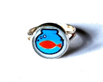 Fish Ring, Gold Fish Ring, Fish jewelry, Fish, Adjustable Ring, Kids Jewelry