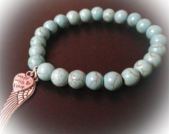Healing Bracelet made from Turquoise, angel wing & made with love charm