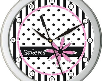 "Black & White Boutique Personalized 10"" Wall Clock"
