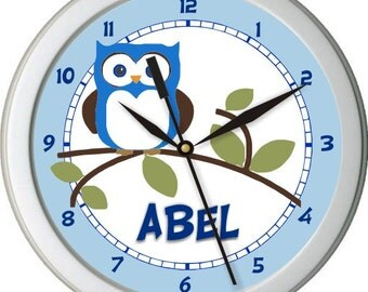 "Blue and Brown Owl Personalized 10"" Nursery / Children Wall Clock"