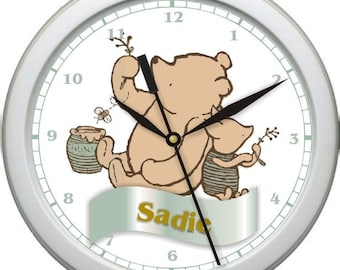 "Classic Pooh Bear Personalized 10"" Nursery / Children Wall Clock"