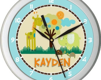 "Giggle Gang Personalized 10"" Nursery / Children Wall Clock"
