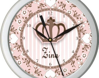 "Cocola Princess Personalized 10"" Nursery / Children Wall Clock"