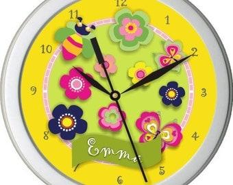"""Bella Butterflies Personalized 10"""" Nursery / Children Wall Clock"""