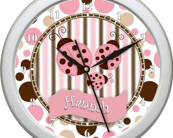 "Mod Ladybug Pink and Brown Personalized 10"" Nursery / Children Wall Clock"