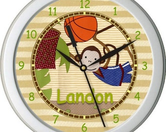 "Safari Basketball Personalized 10"" Nursery / Children Wall Clock"