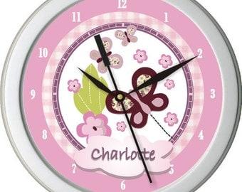 """Sugar Plum Butterflies Personalized 10"""" Nursery / Children Wall Clock"""