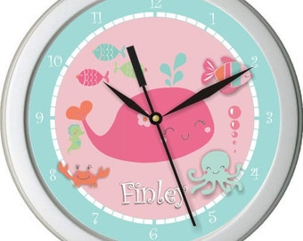 "Under The Sea Personalized 10""Nursery / Children Wall Clock"