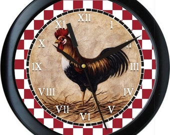 "Country Rooster Personalized 10"" Kitchen Wall Clock"